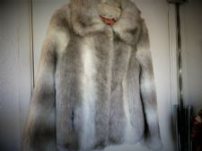 LADIES LOVELY CREAM BEIGE B.Y. LUXURIOUS SIMULATED FUR SHORT COAT SMALL